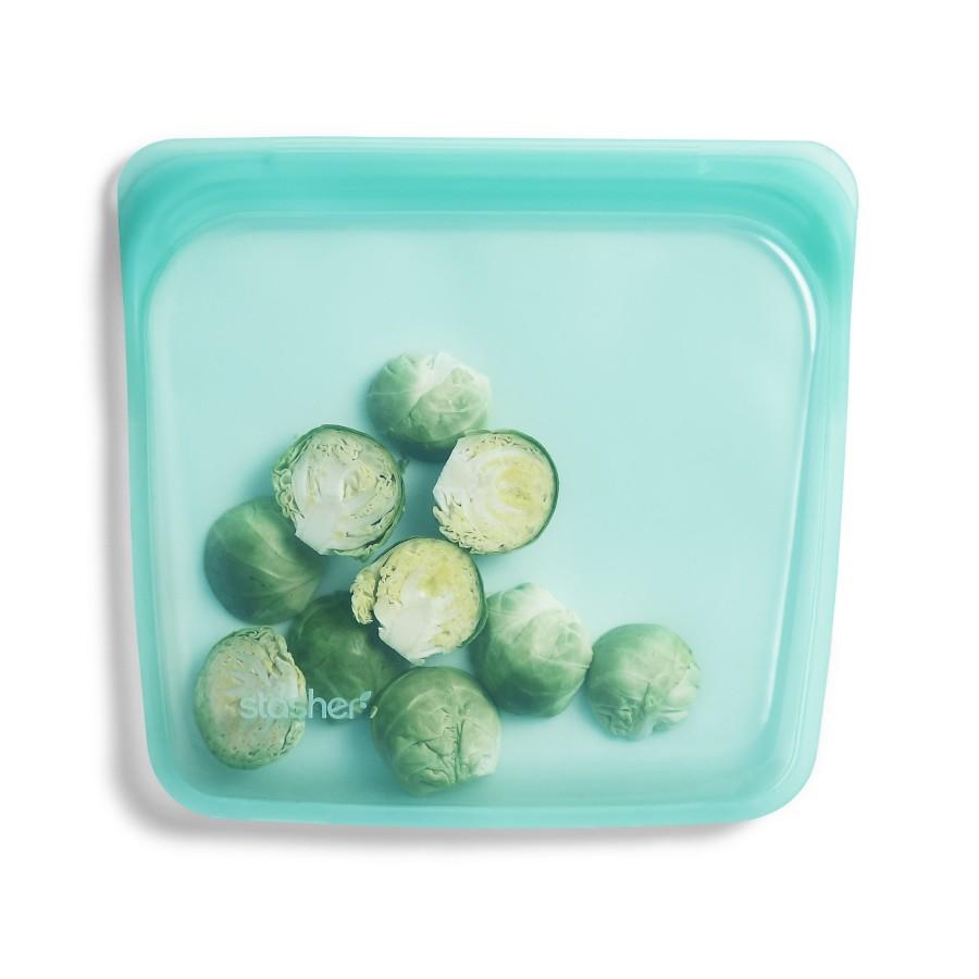 Daugkartinio naudojimo silikoninis stasher sumuštinių maišelis Aqua