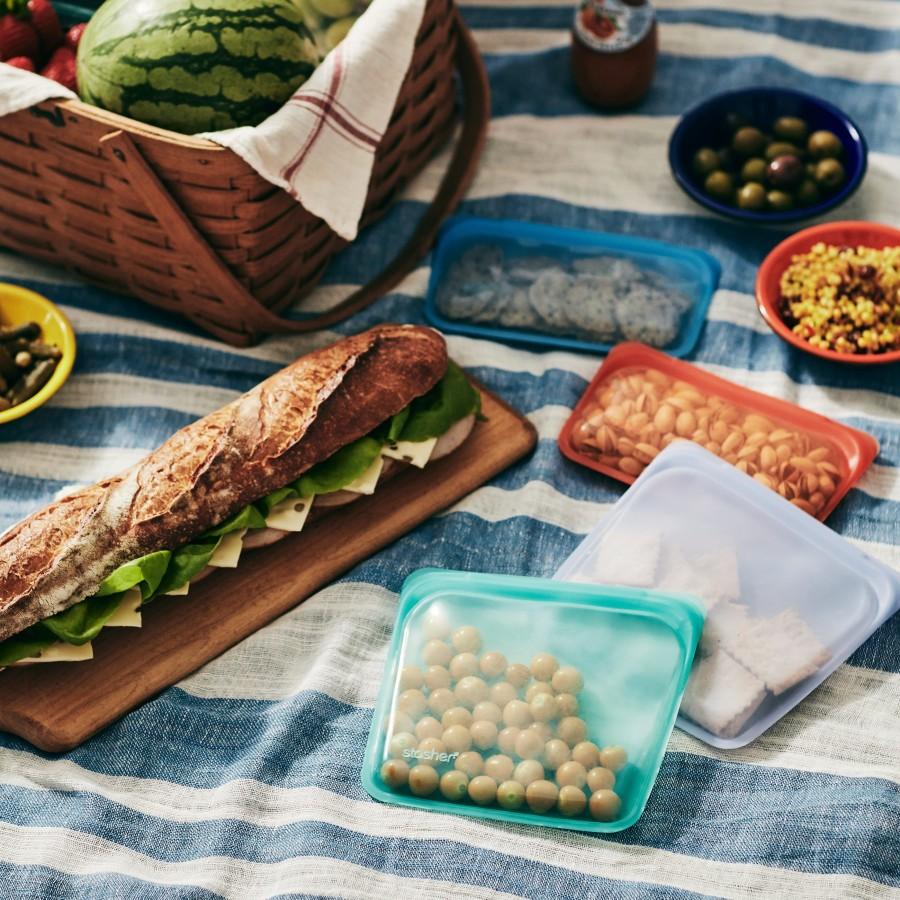 Daugkartinio naudojimo silikoninis sumuštinių maišelis Aqua