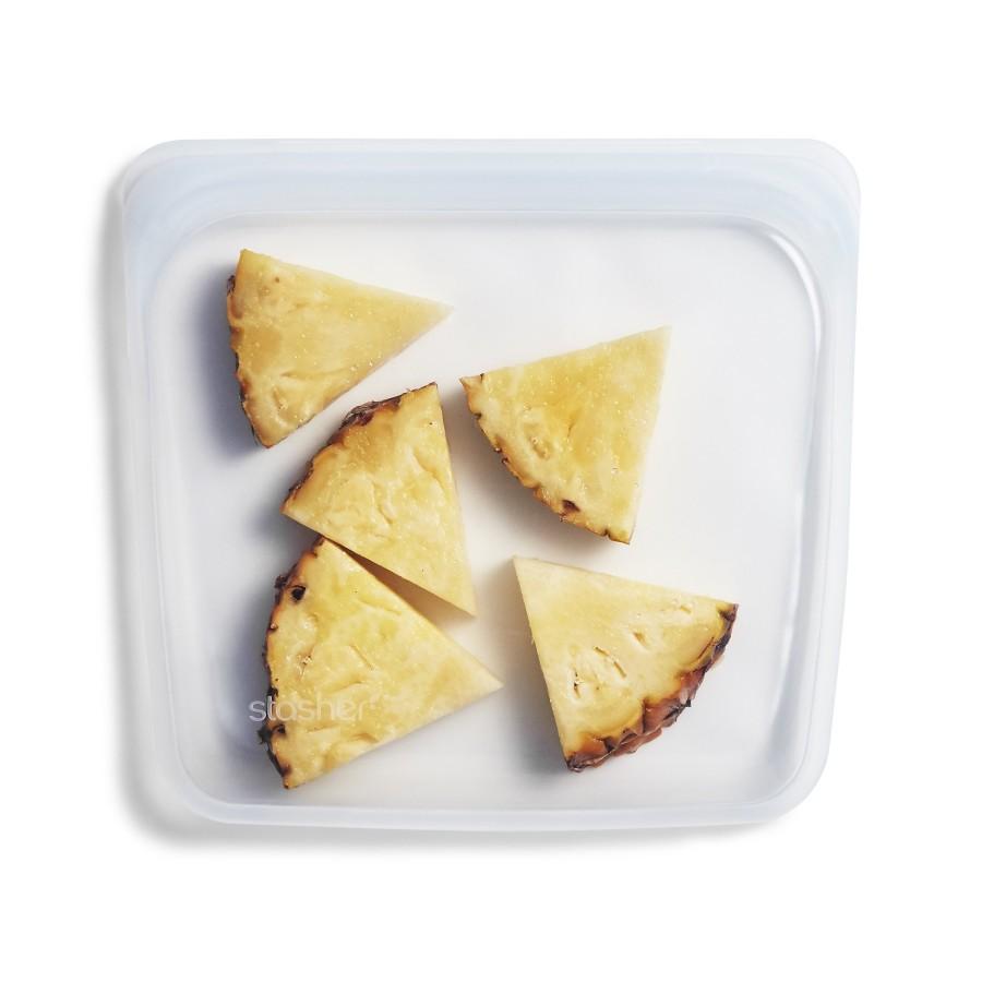 Daugkartinio naudojimo silikoninis stasher sumuštinių maišelis Skaidrus
