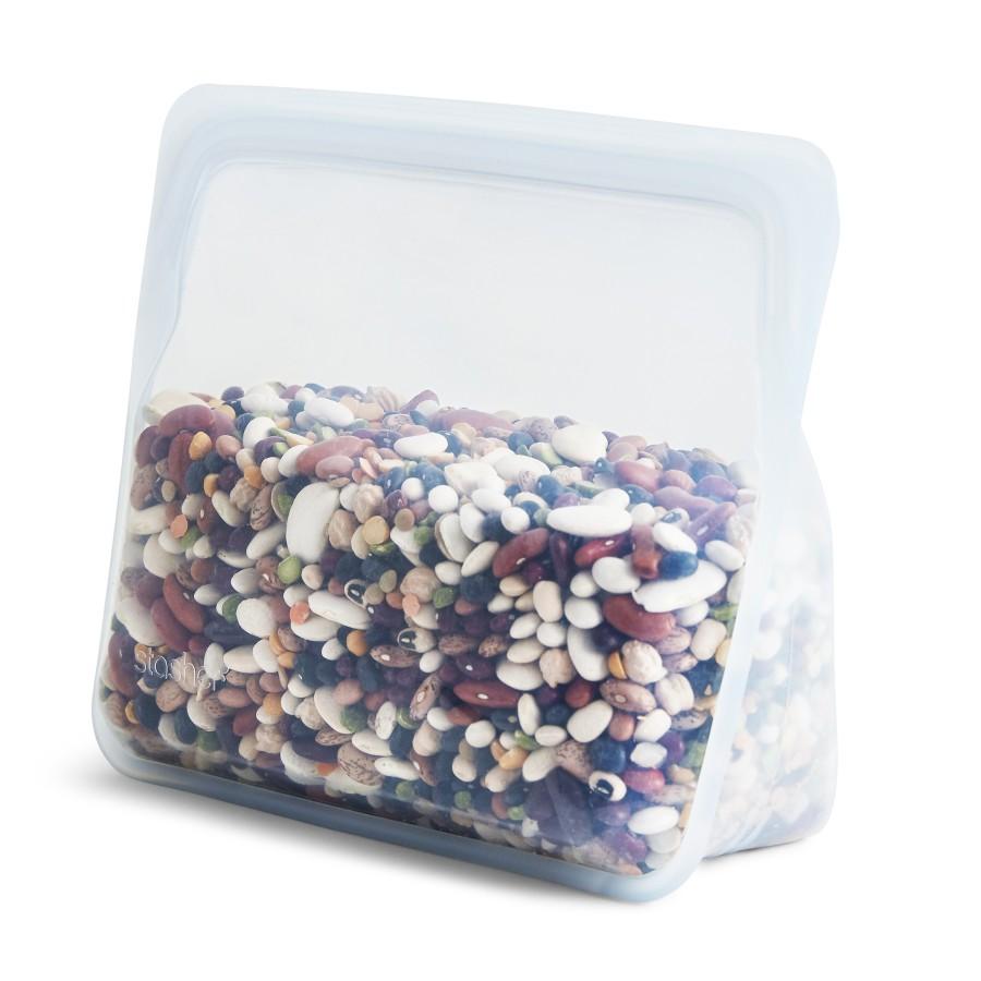 Daugkartinio naudojimo stand-up  skaidrus stasher silikoninis maišelis