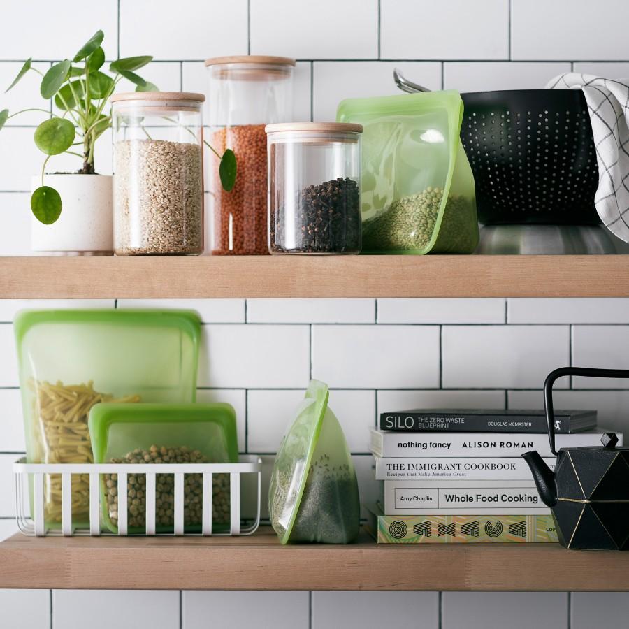 Reusable Silicone Half-Gallon Bag Green