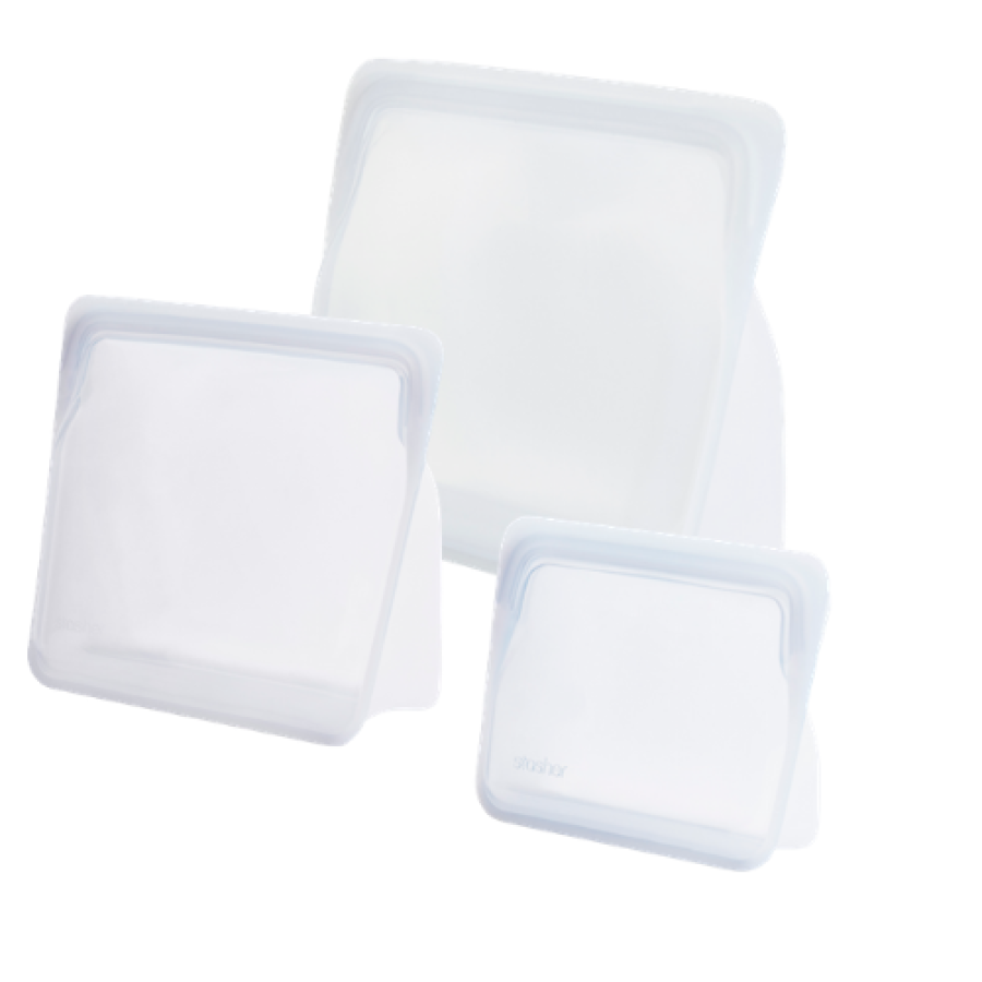 REUSABLE SILICONE STAND-UP TRIO CLEAR