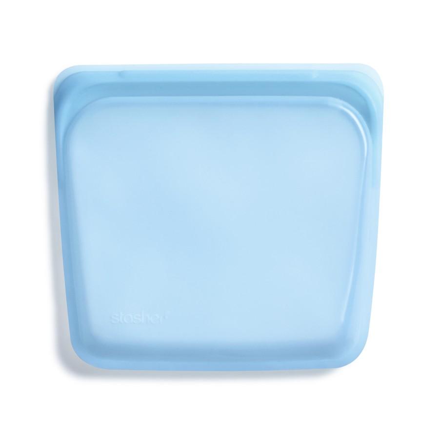 Daugkartinio naudojimo silikoninis stasher sumuštinių maišelis vaivorykštės mėlyna