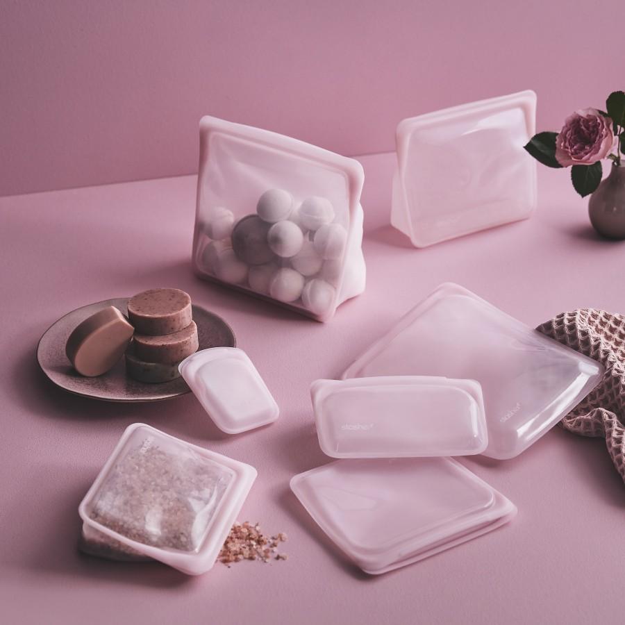 Daugkartinio naudojimo silikoninis stasher sumuštinių maišelis vaivorykštės rožinė
