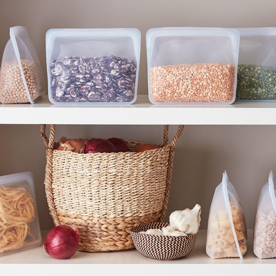 Daugkartinio naudojimo stand-up  skaidrus silikoninis maišelis